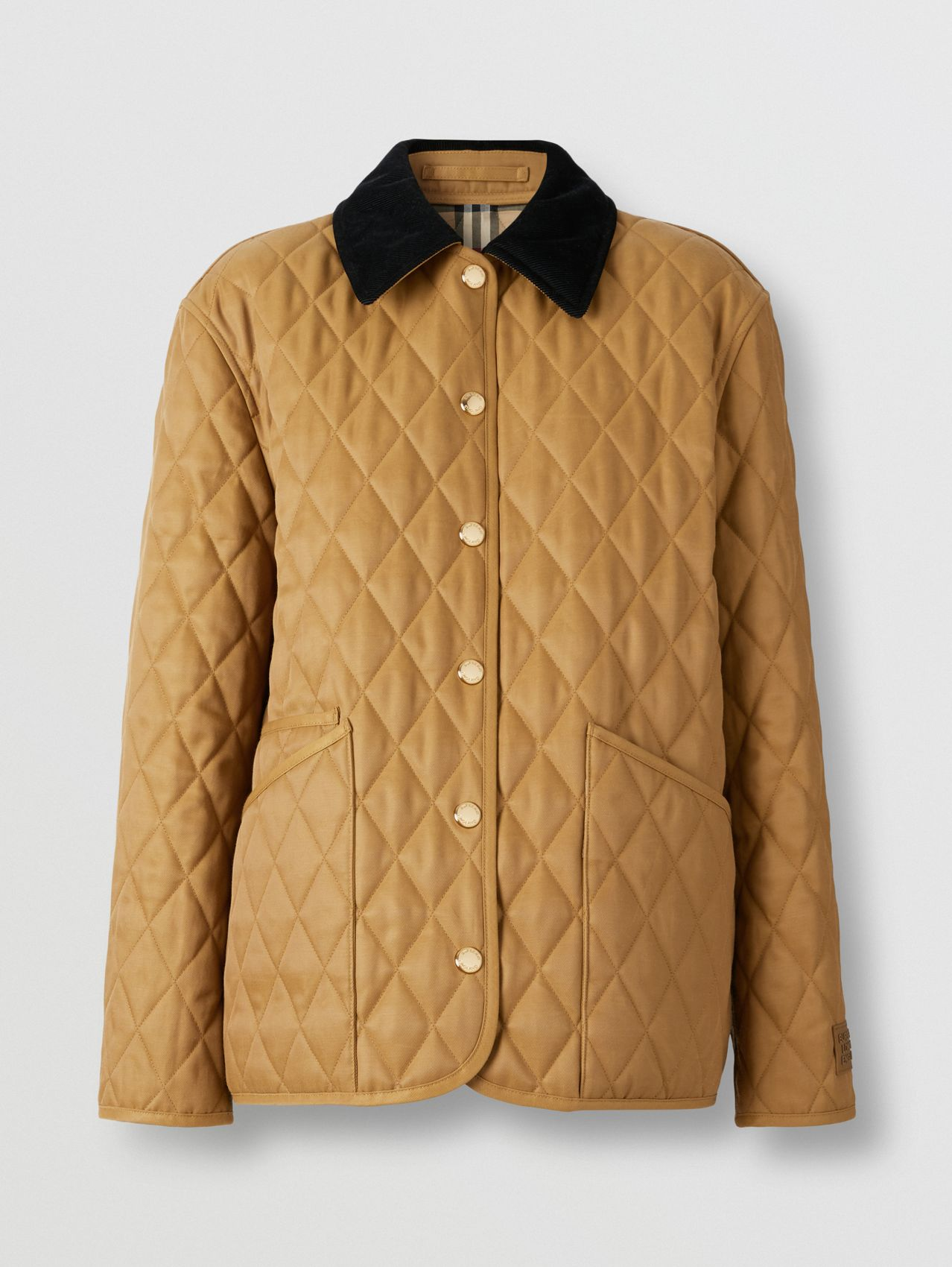 Corduroy Collar Diamond Quilted Jacket in Camel