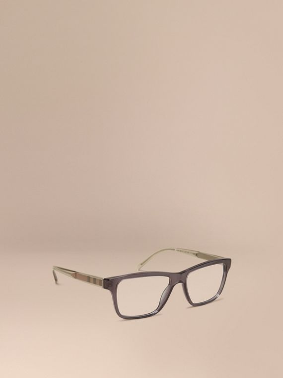 Check Detail Rectangular Optical Frames Dark Grey