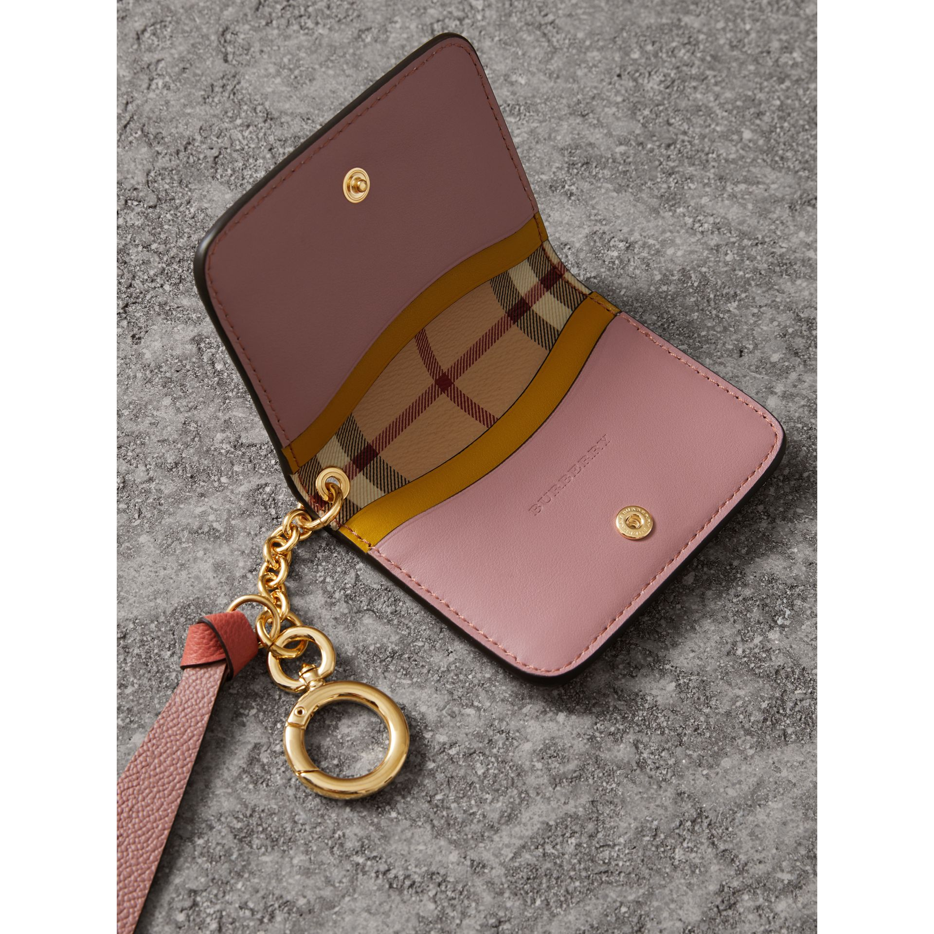Leather and Haymarket Check ID Card Case Charm in Cinnamon Red/multi - Women | Burberry United Kingdom - gallery image 4
