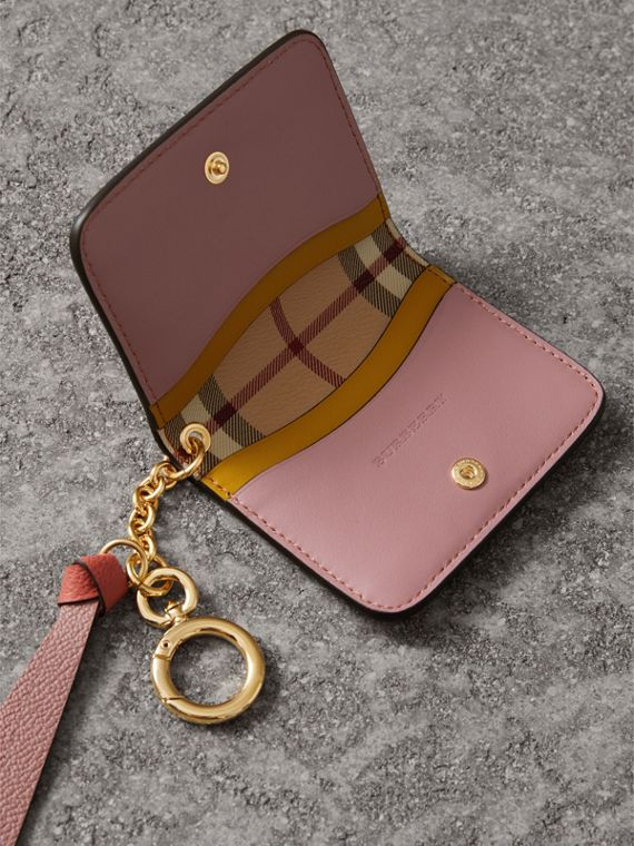 Leather and Haymarket Check ID Card Case Charm in Cinnamon Red/multi - Women | Burberry United Kingdom - cell image 3