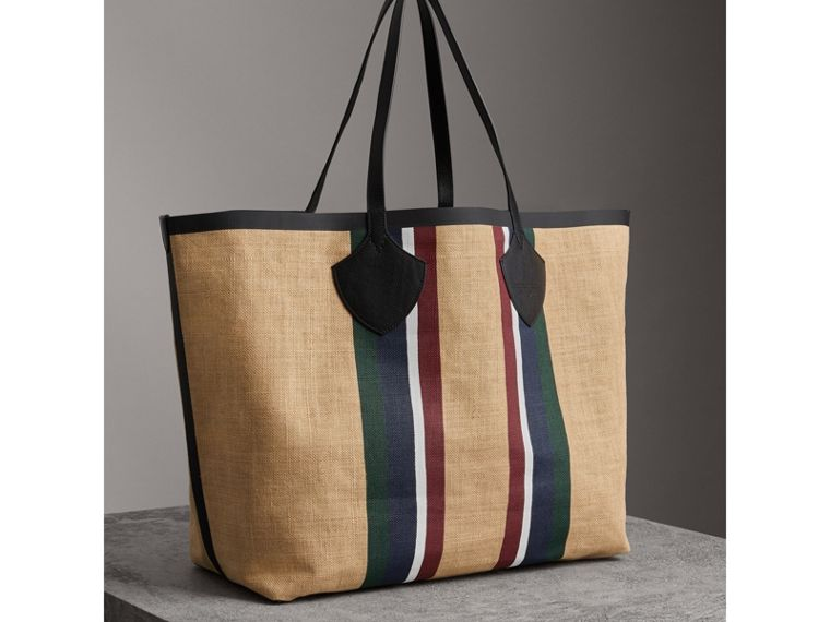 The Giant Tote in Striped Jute in Black - Women | Burberry - cell image 4