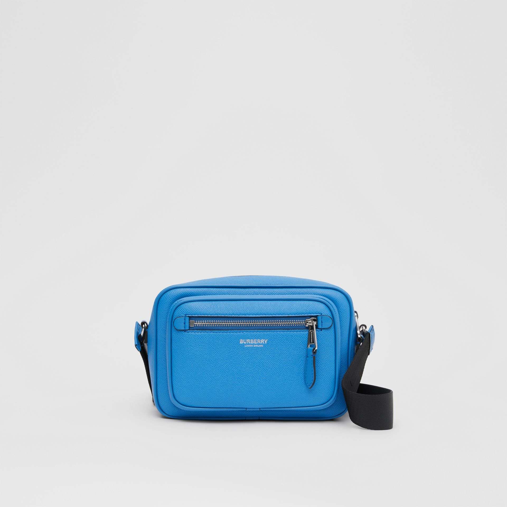 Grainy Leather Crossbody Bag in True Blue - Men | Burberry United Kingdom - gallery image 0
