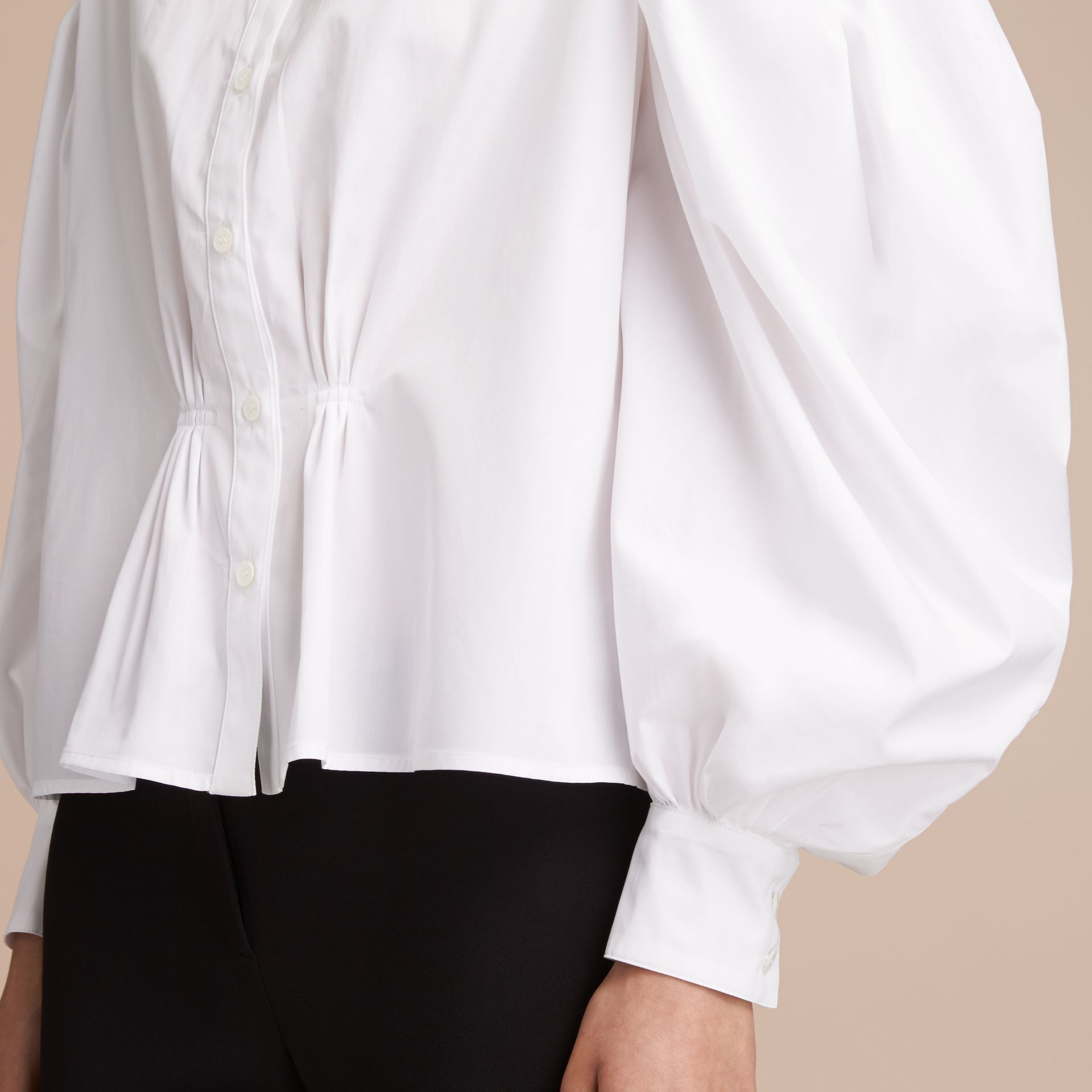 Puff-sleeve Cotton Shirt in White - Women | Burberry - gallery image 5