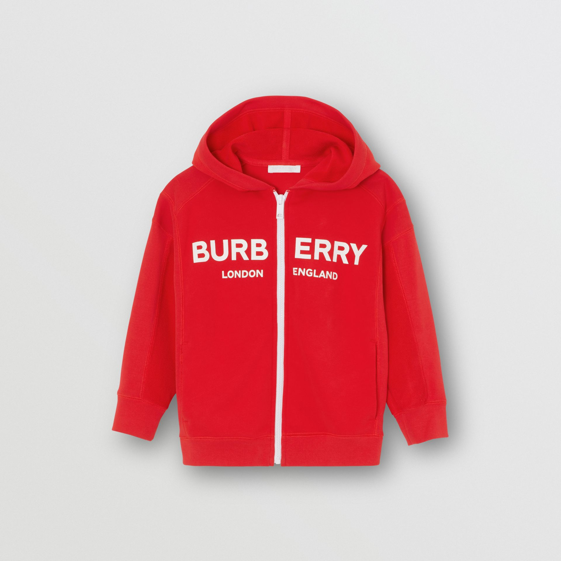 Logo Print Cotton Hooded Top in Bright Red | Burberry - gallery image 0