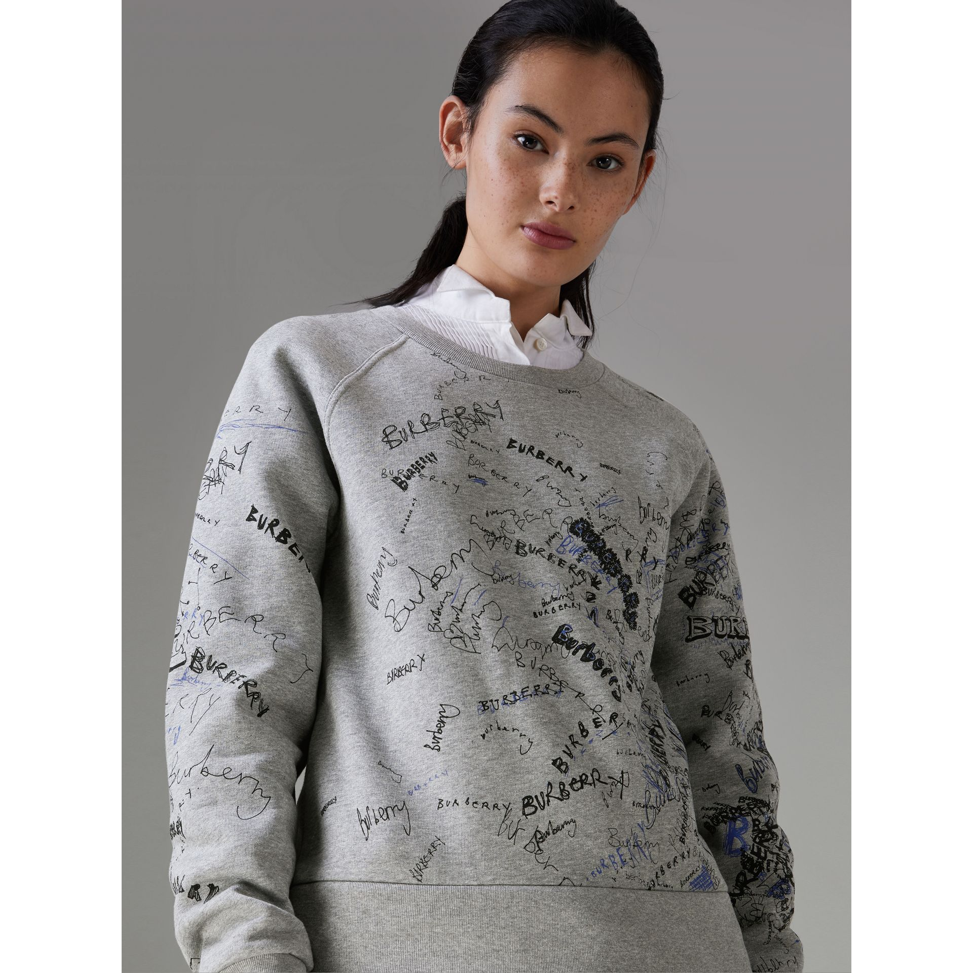 Doodle Print Cotton Blend Jersey Sweatshirt in Pale Grey Melange - Women | Burberry Australia - gallery image 0