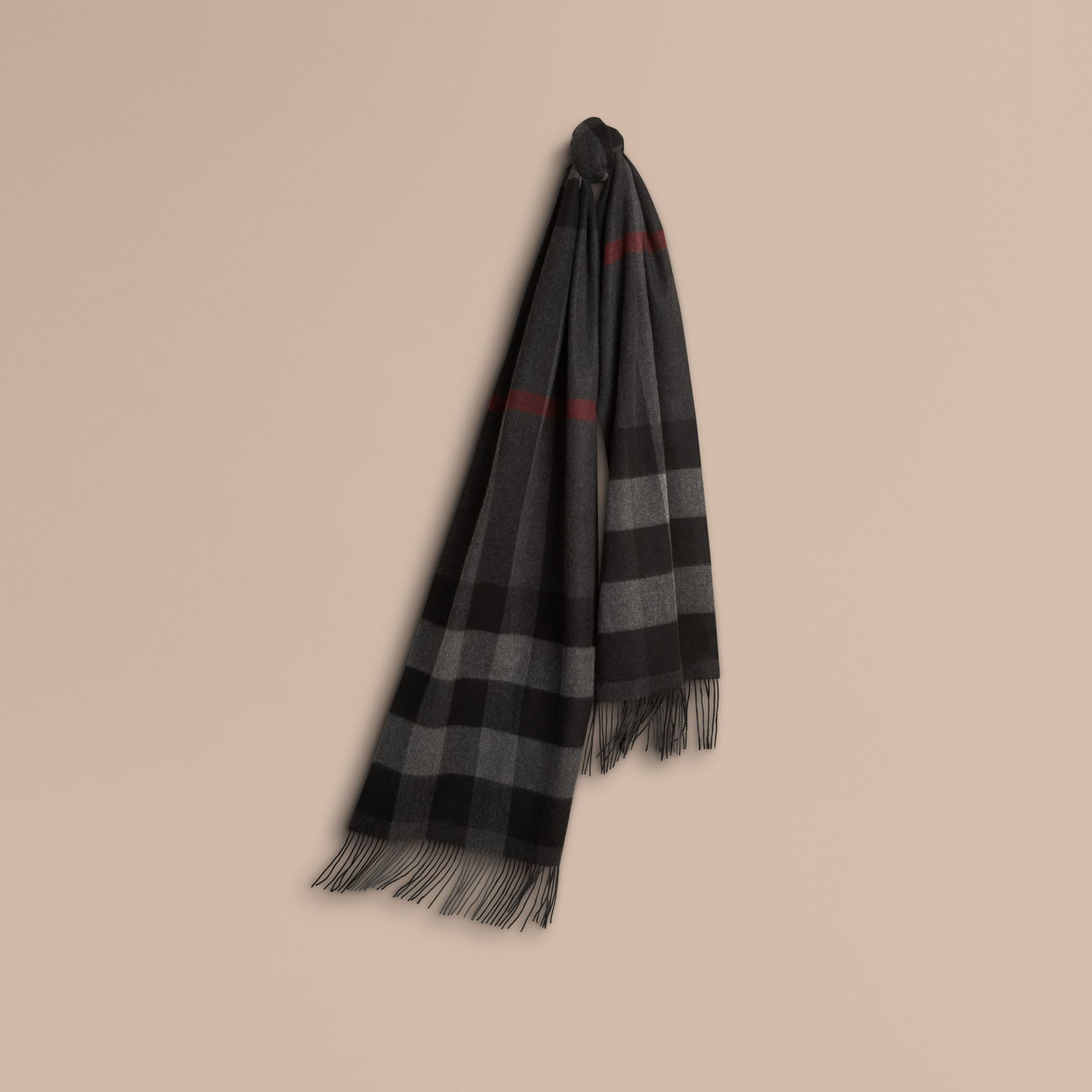 Charcoal Oversize Check Cashmere Scarf Charcoal - gallery image 1