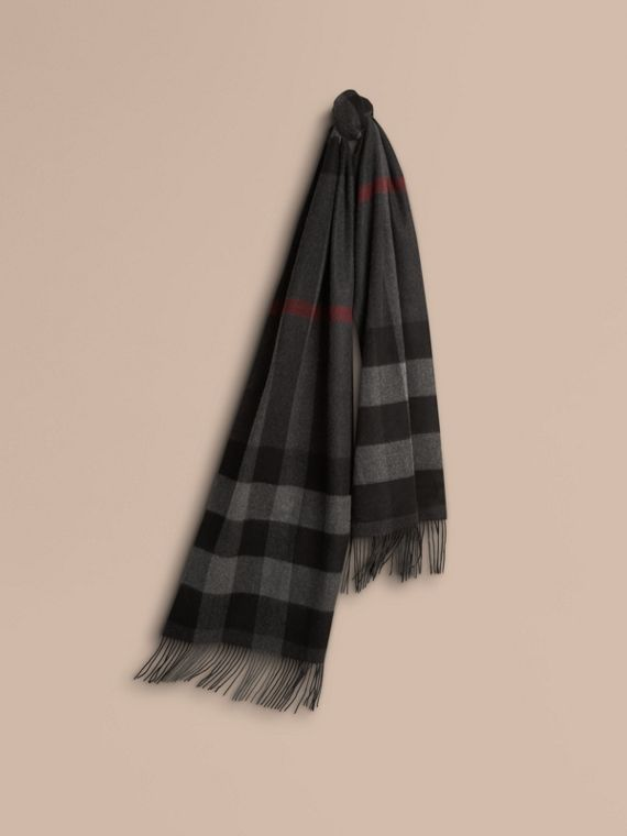 Oversize Check Cashmere Scarf Charcoal