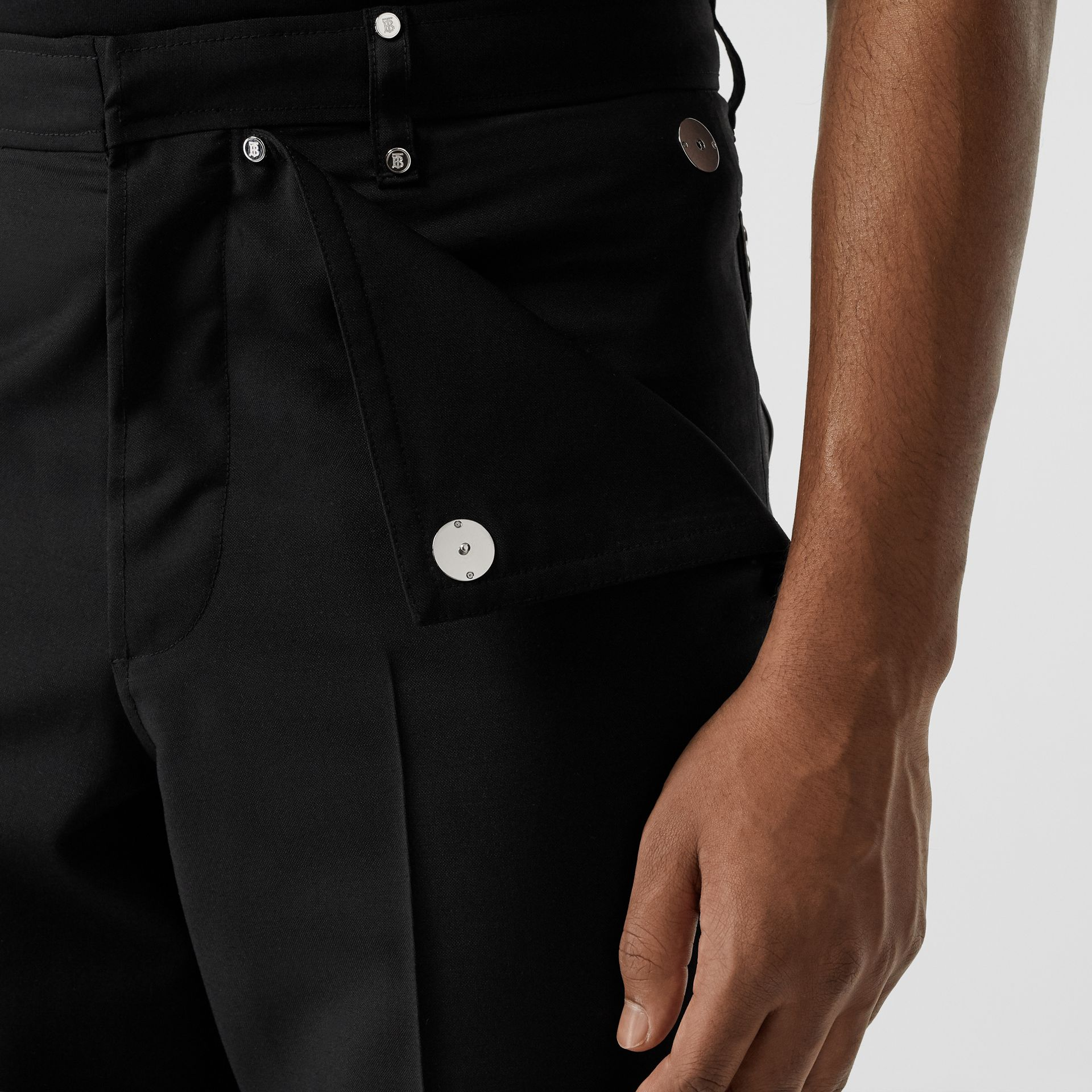 Pocket Detail Wool Mohair Trousers in Black | Burberry Australia - gallery image 1