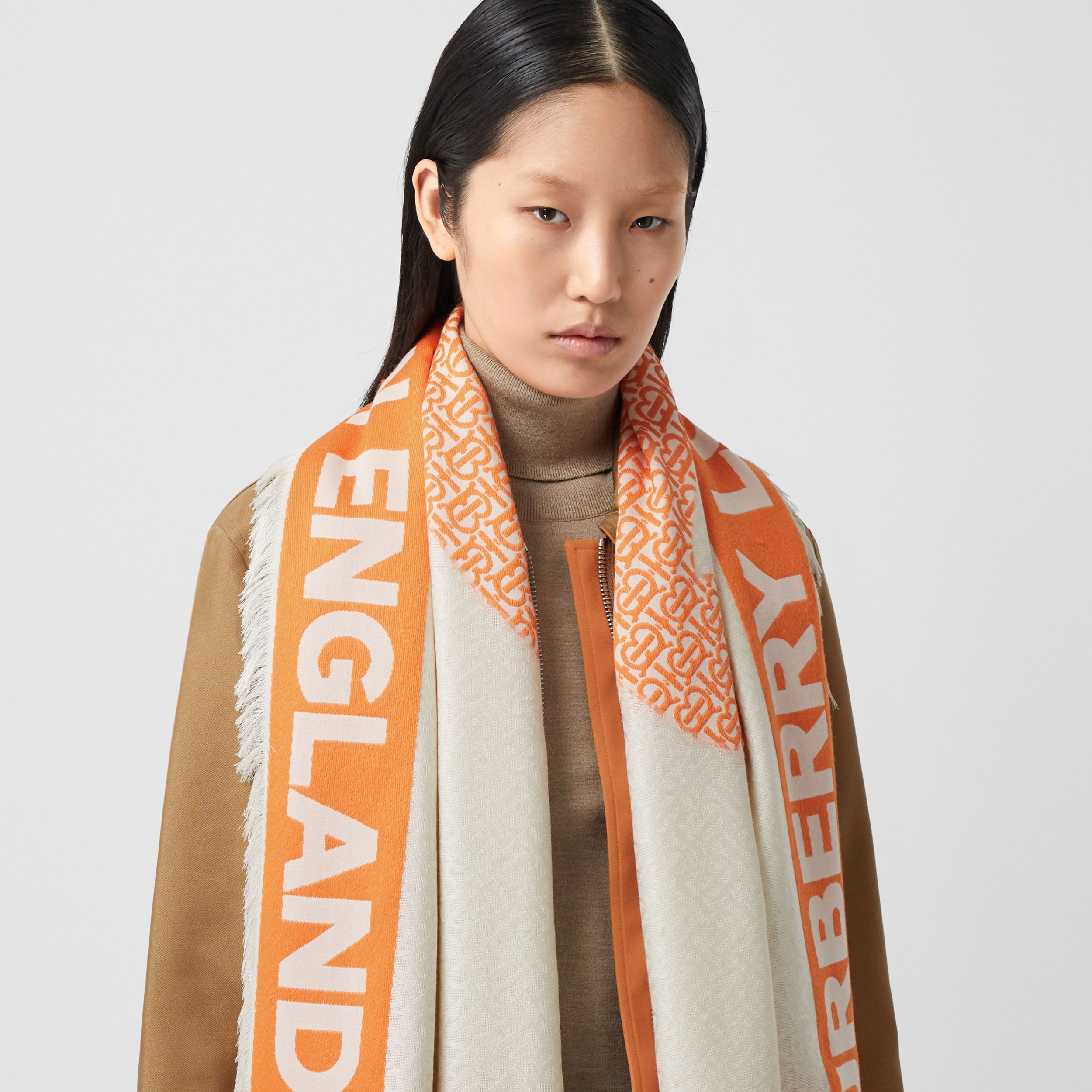 Monogram Fil Coupé Silk Blend Large Square Scarf in Orange | Burberry - 3