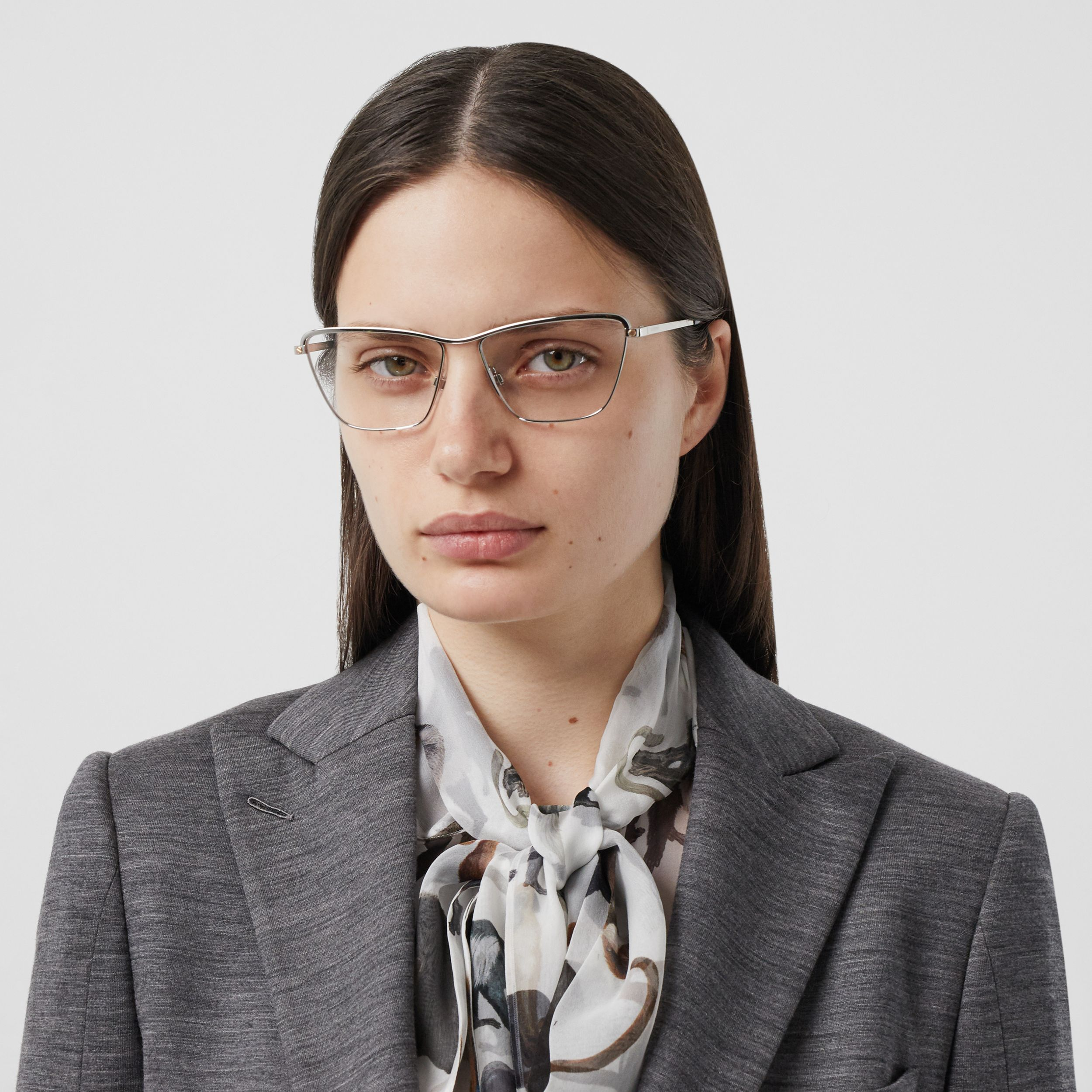 Rectangular Optical Frames in Silver - Women | Burberry Canada - 3