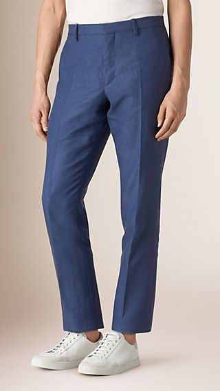 Modern Fit Linen Trousers