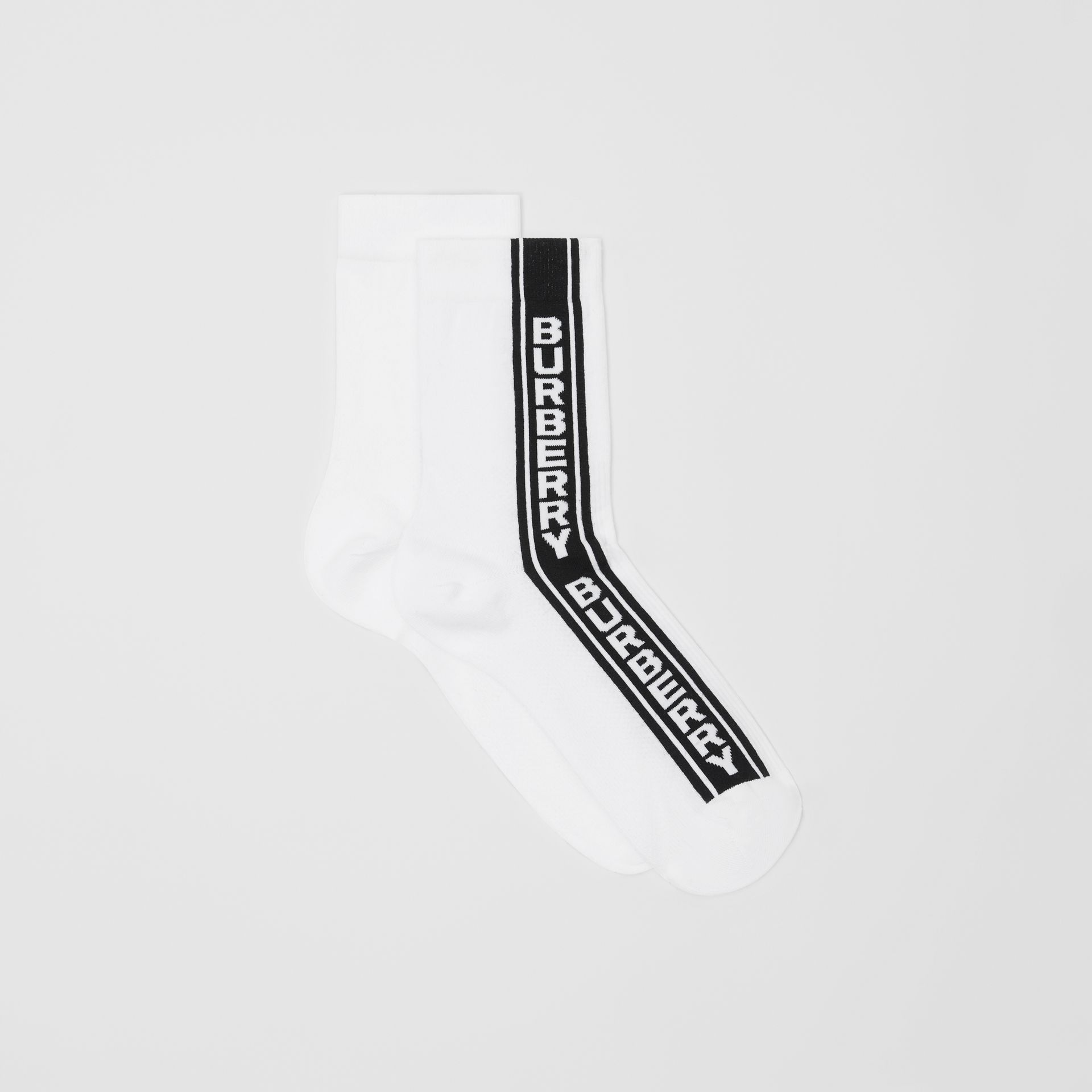 Logo Stripe Intarsia Cotton Blend Socks in White | Burberry Canada - gallery image 2
