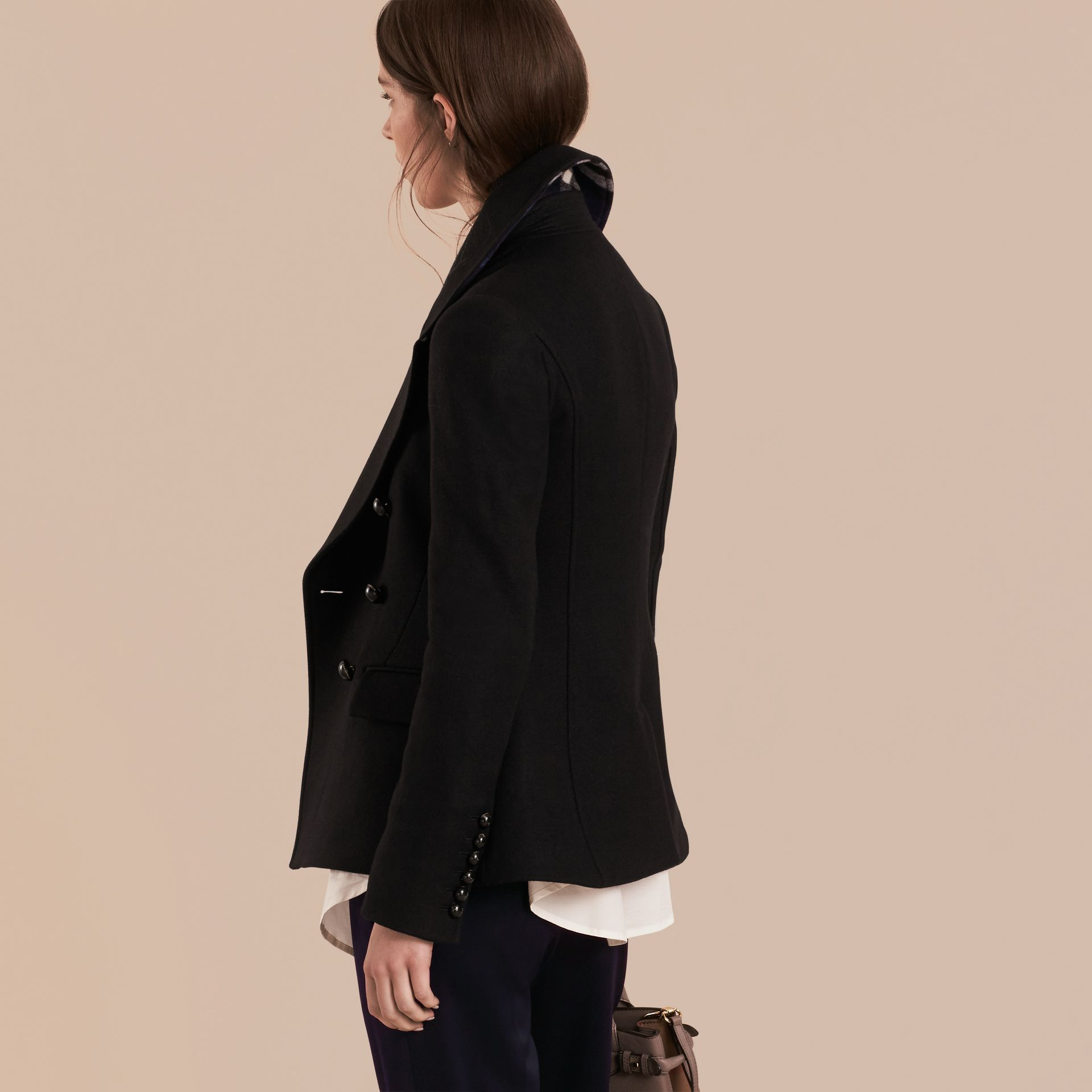 Tailored Wool Blend Jacket in Black - Women | Burberry - gallery image 3