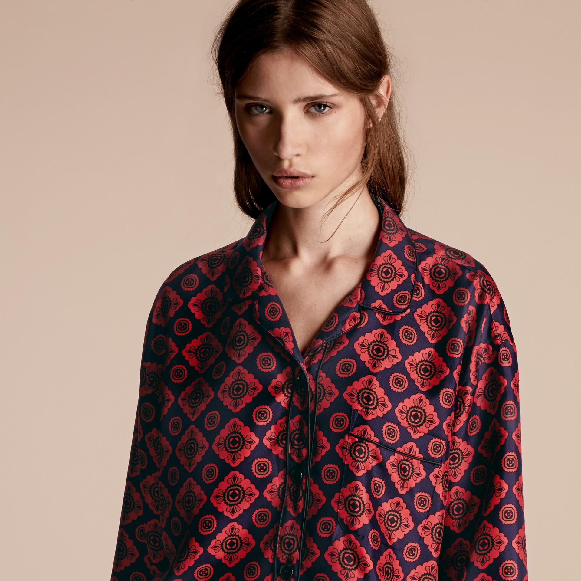 Geometric Tile Print Silk Pyjama-style Shirt - gallery image 5