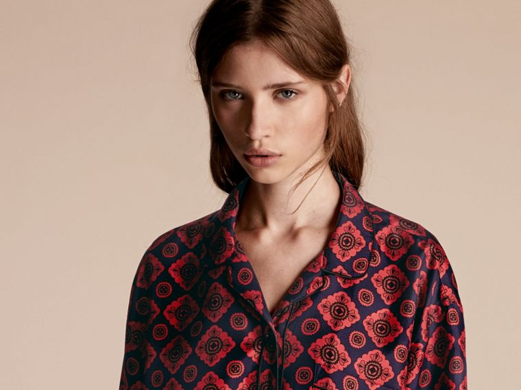 Geometric Tile Print Silk Pyjama-style Shirt - cell image 4