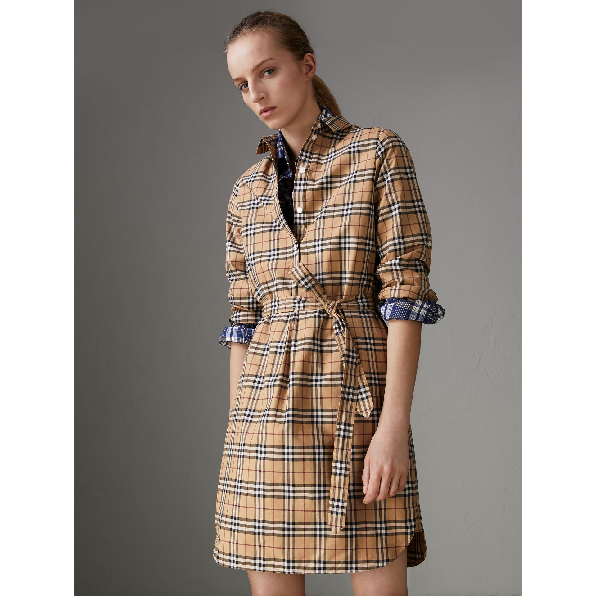 Check Cotton Tunic Dress in Camel - Women | Burberry - gallery image 4
