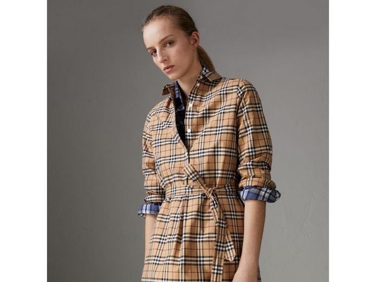 Check Cotton Tunic Dress in Camel - Women | Burberry - cell image 4