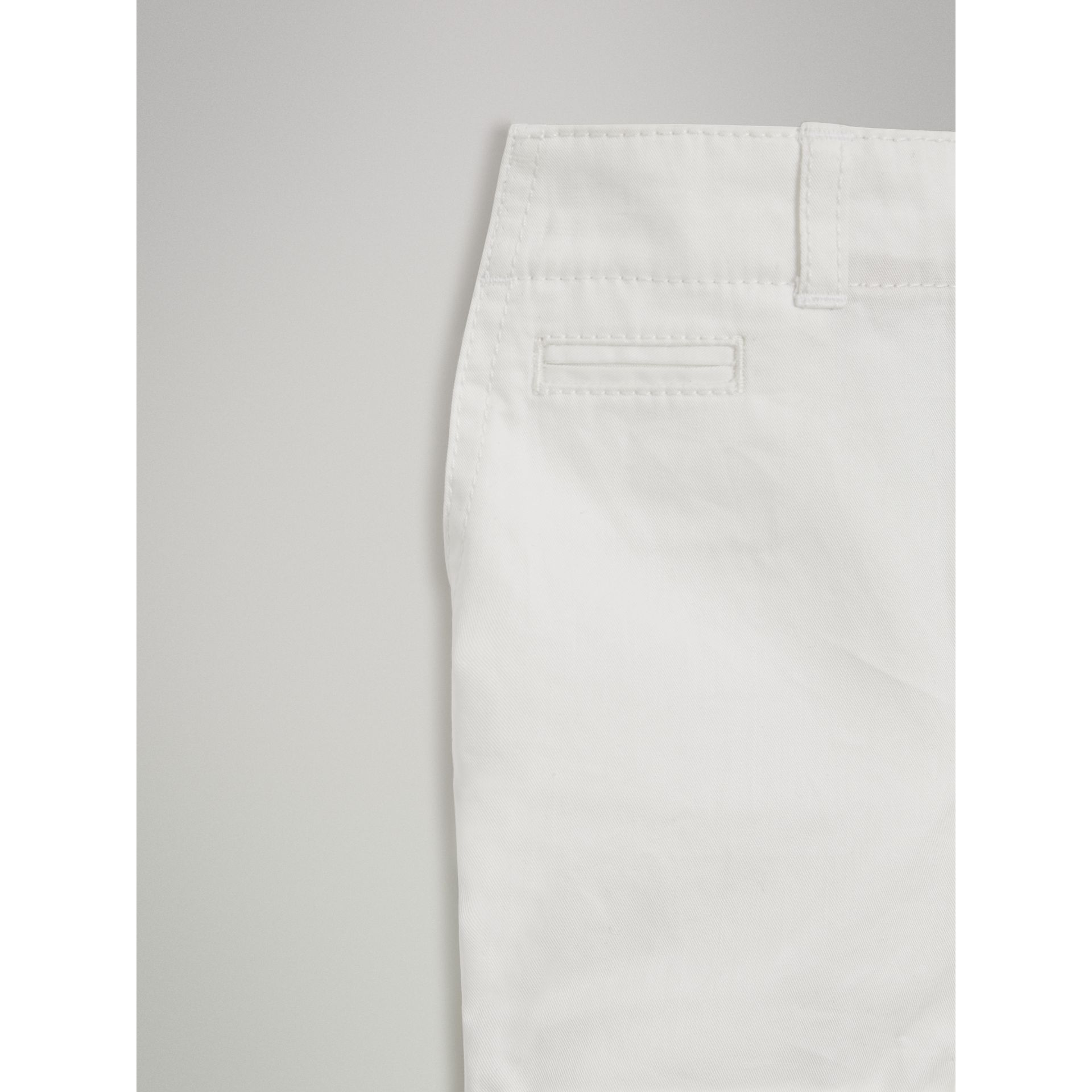 Cotton Twill Chino Shorts in White | Burberry - gallery image 4