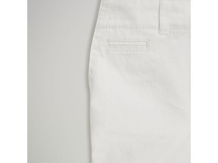 Cotton Twill Chino Shorts in White | Burberry - cell image 4