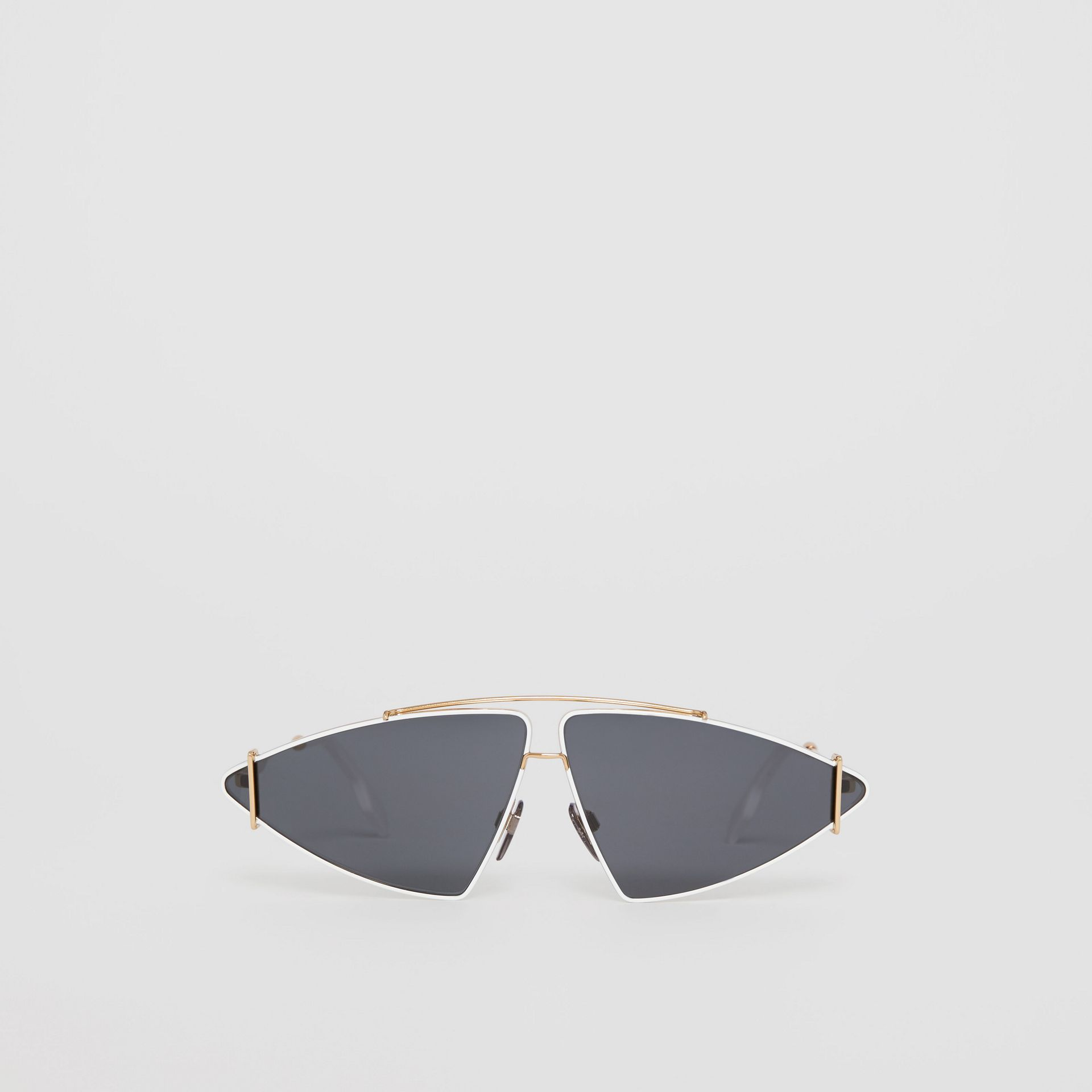 Gold-plated Triangular Frame Sunglasses in White - Women | Burberry Australia - gallery image 0