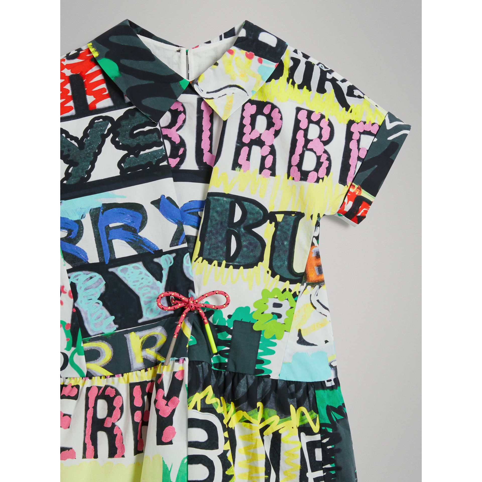 Graffiti Logo Print Cotton Drawcord Dress in Multicolour - Girl | Burberry - gallery image 4