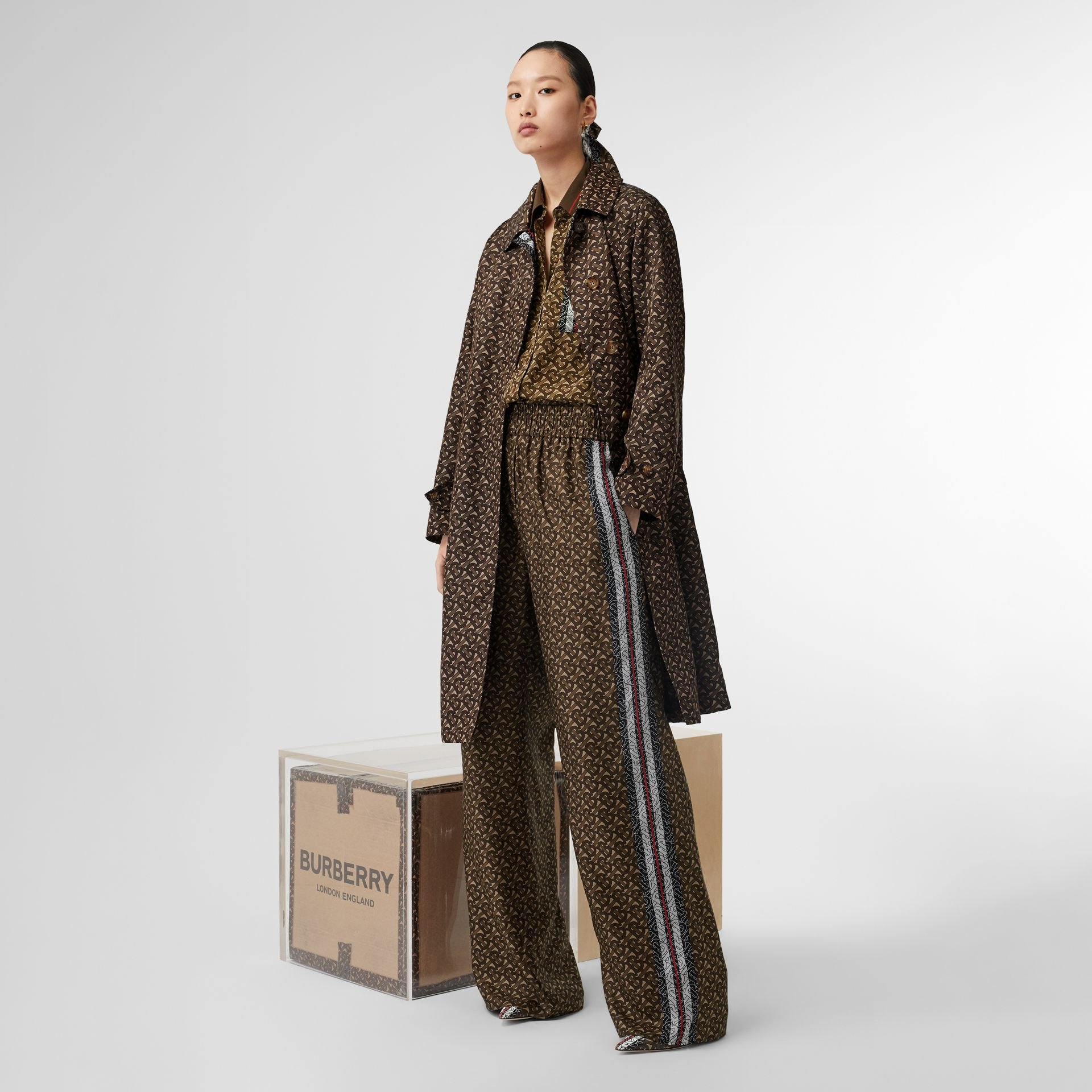 Monogram Stripe Print Silk Trousers in Bridle Brown - Women | Burberry - gallery image 5