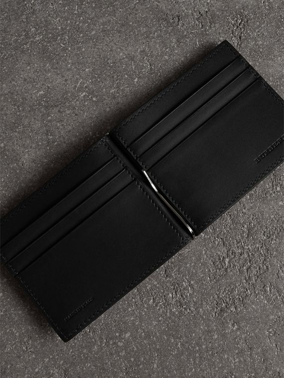 Grainy Leather Money Clip Card Wallet in Black - Men | Burberry - cell image 3