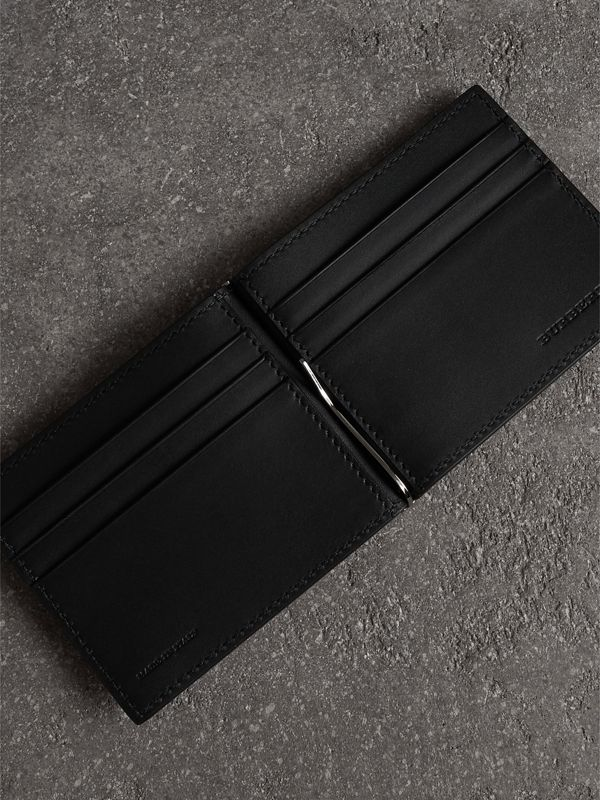 Grainy Leather Money Clip Card Wallet in Black - Men | Burberry Australia - cell image 3
