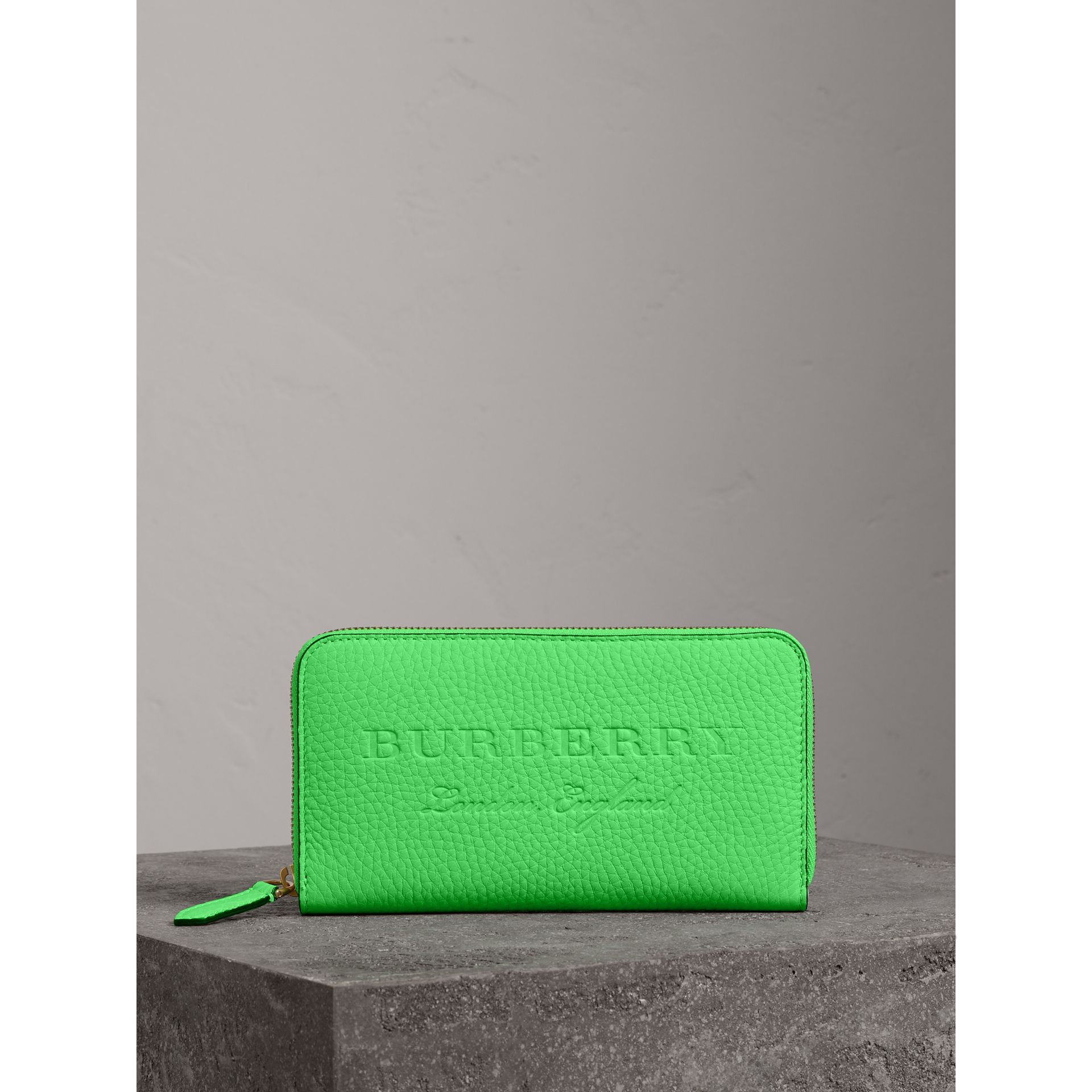 Embossed Leather Ziparound Wallet in Bright Green - Women | Burberry - gallery image 4