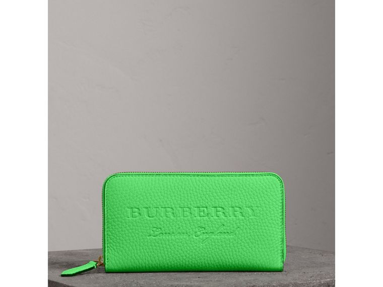 Embossed Leather Ziparound Wallet in Bright Green - Women | Burberry - cell image 4