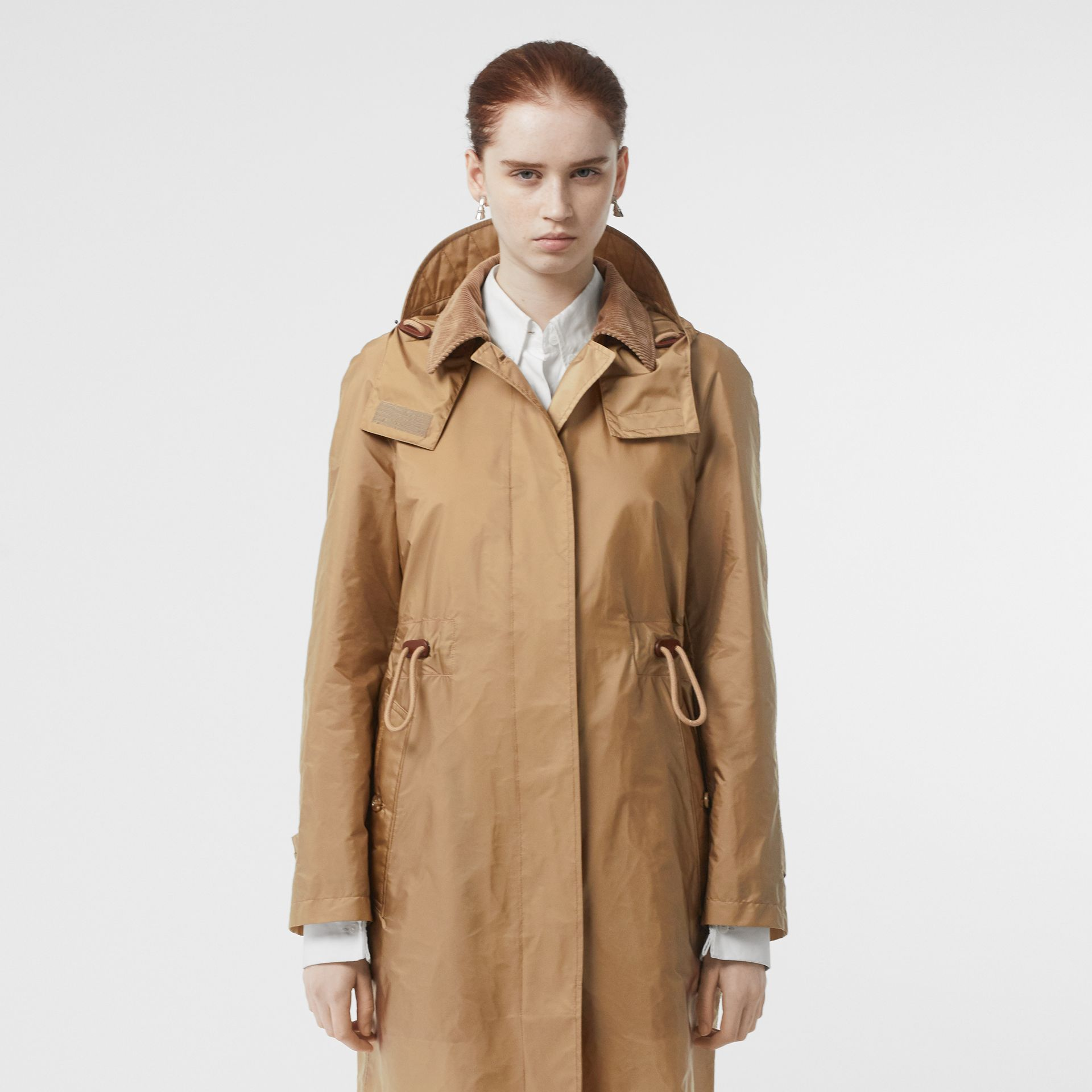 Detachable Hood Taffeta Parka in Honey - Women | Burberry - gallery image 5