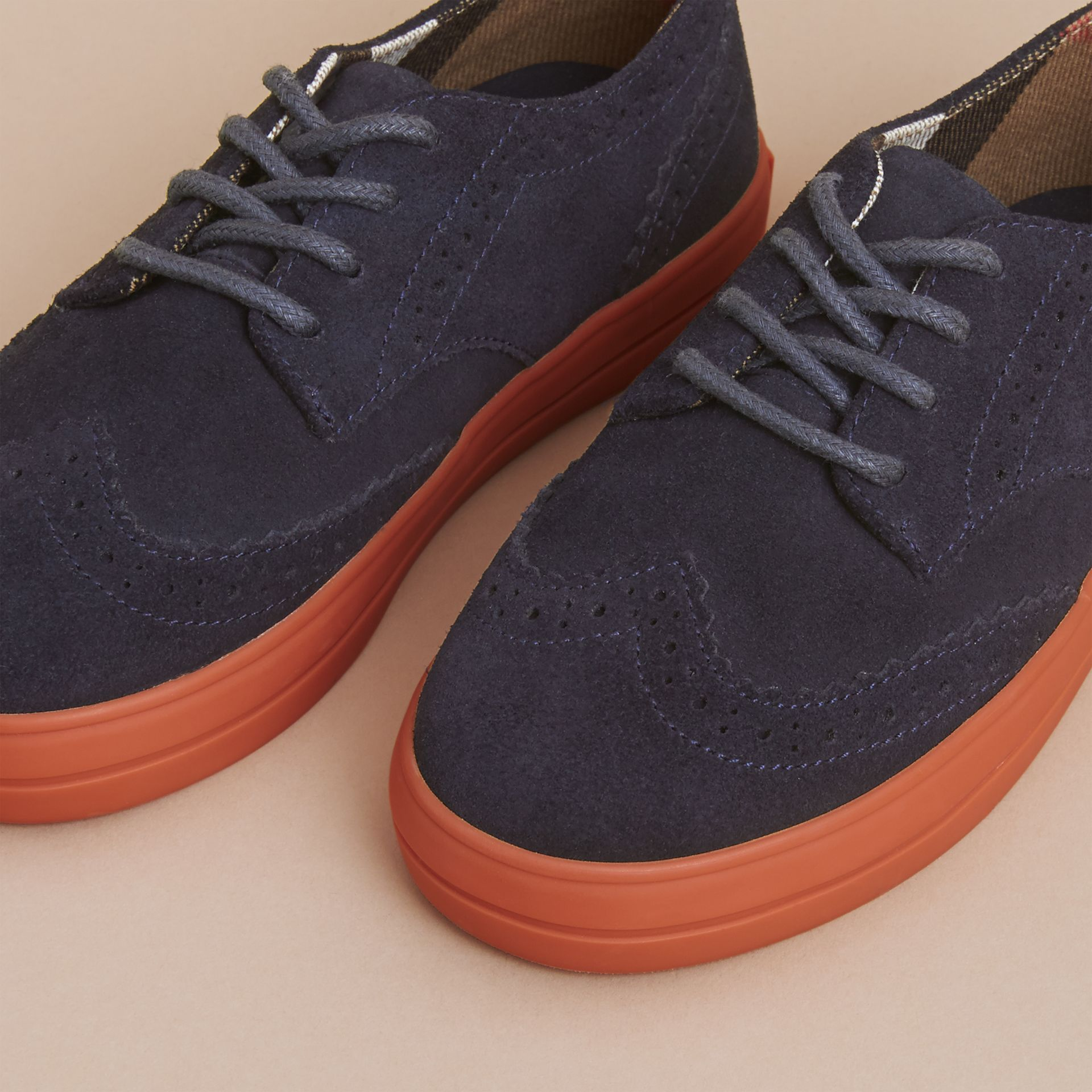 Suede Brogue-detail Trainers in Blue Carbon | Burberry - gallery image 3