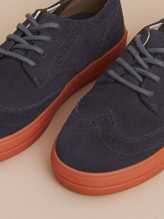 Suede Brogue-detail Trainers in Blue Carbon | Burberry - cell image 2