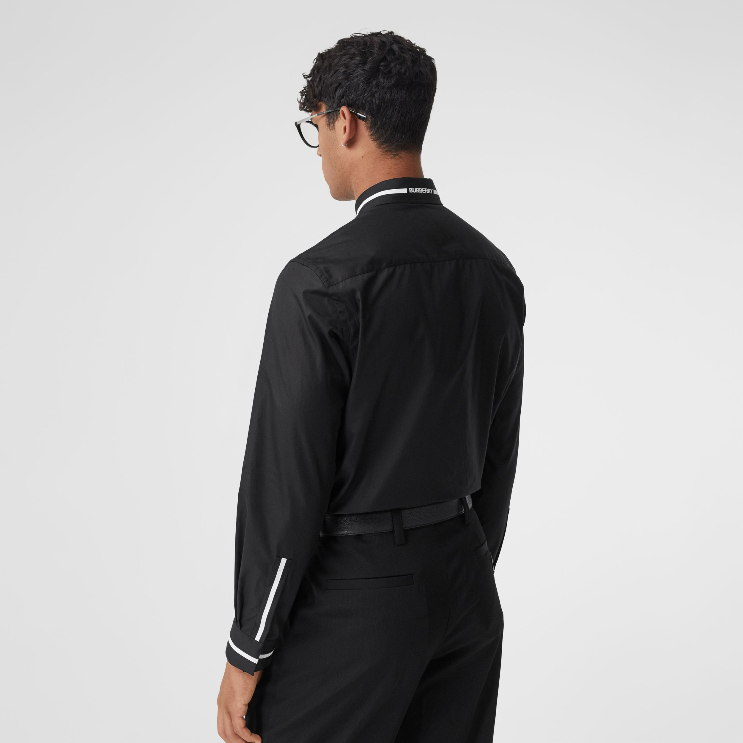 Logo Appliqué Cotton Poplin Shirt in Black - Men | Burberry - 3