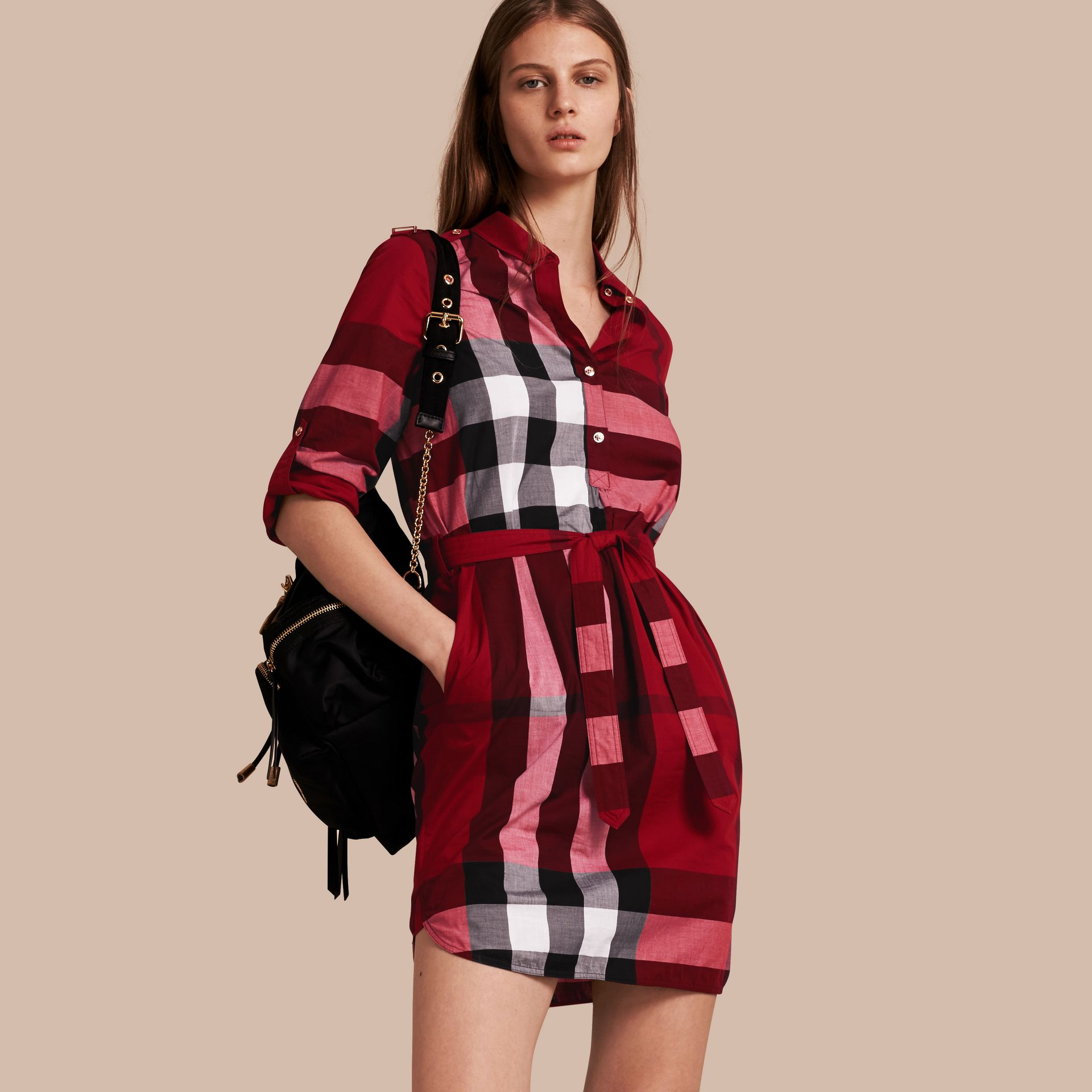 Check Cotton Shirt Dress in Parade Red - gallery image 1