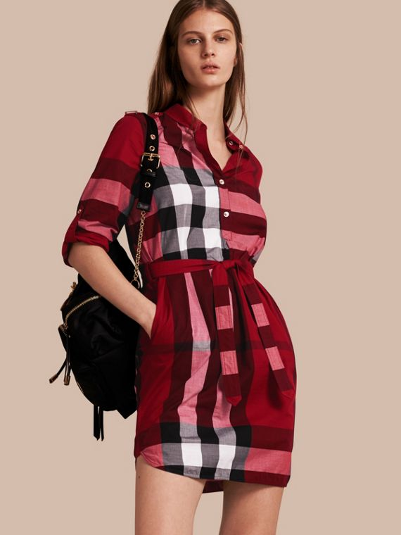 Check Cotton Shirt Dress in Parade Red