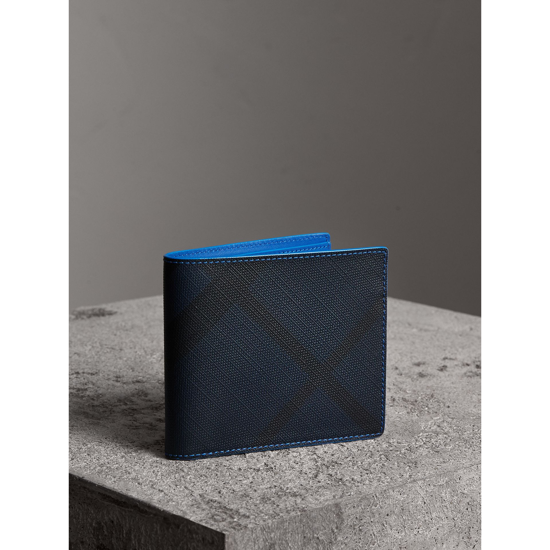 London Check and Leather International Bifold Wallet in Navy/ Blue - Men | Burberry - gallery image 1