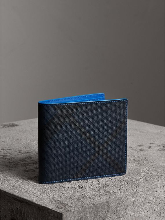 London Check and Leather International Bifold Wallet in Navy/ Blue