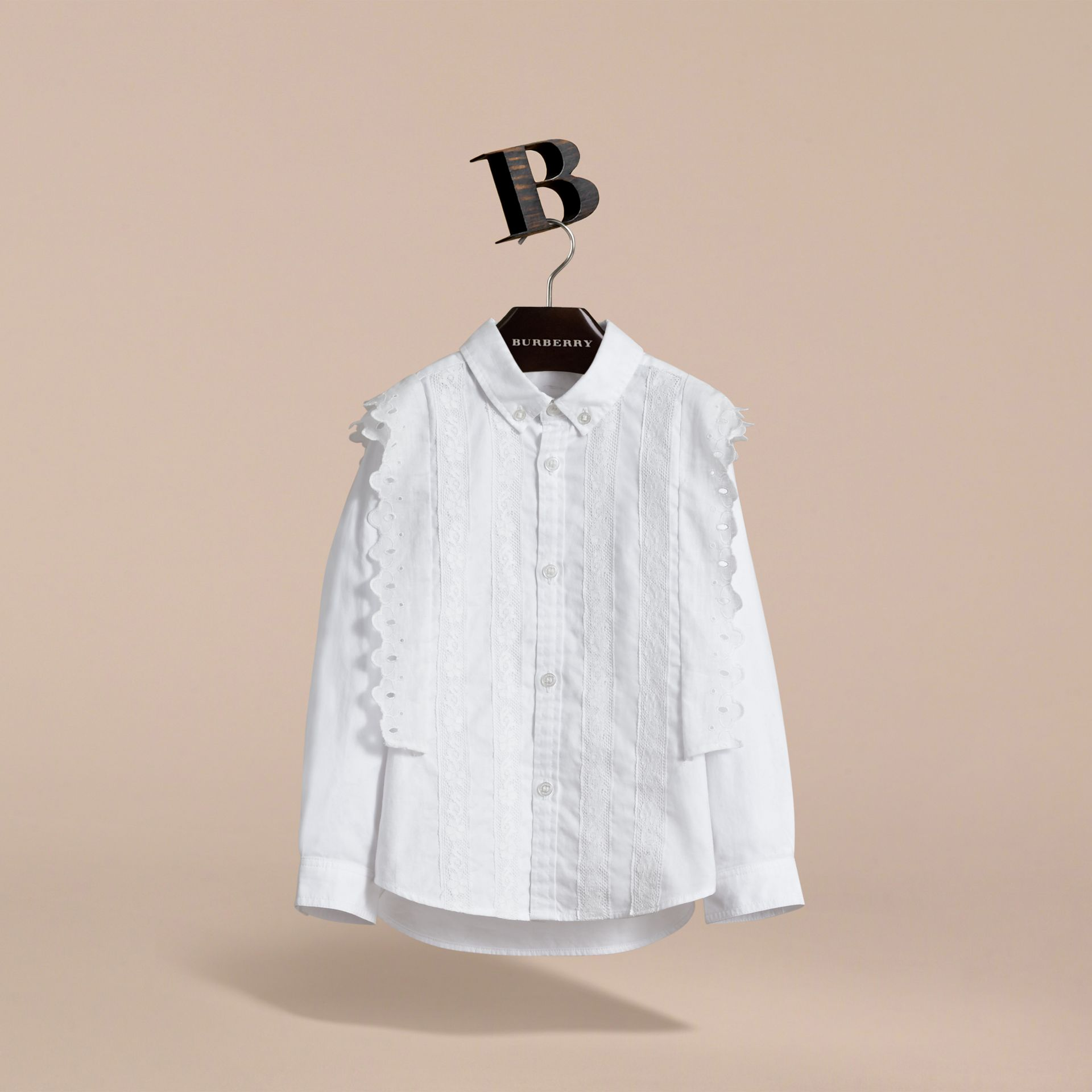 Broderie Anglaise and Lace Detail Cotton Shirt in White | Burberry - gallery image 3