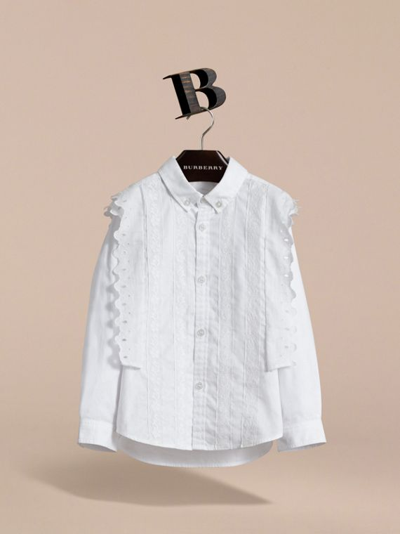 Broderie Anglaise and Lace Detail Cotton Shirt in White | Burberry - cell image 2