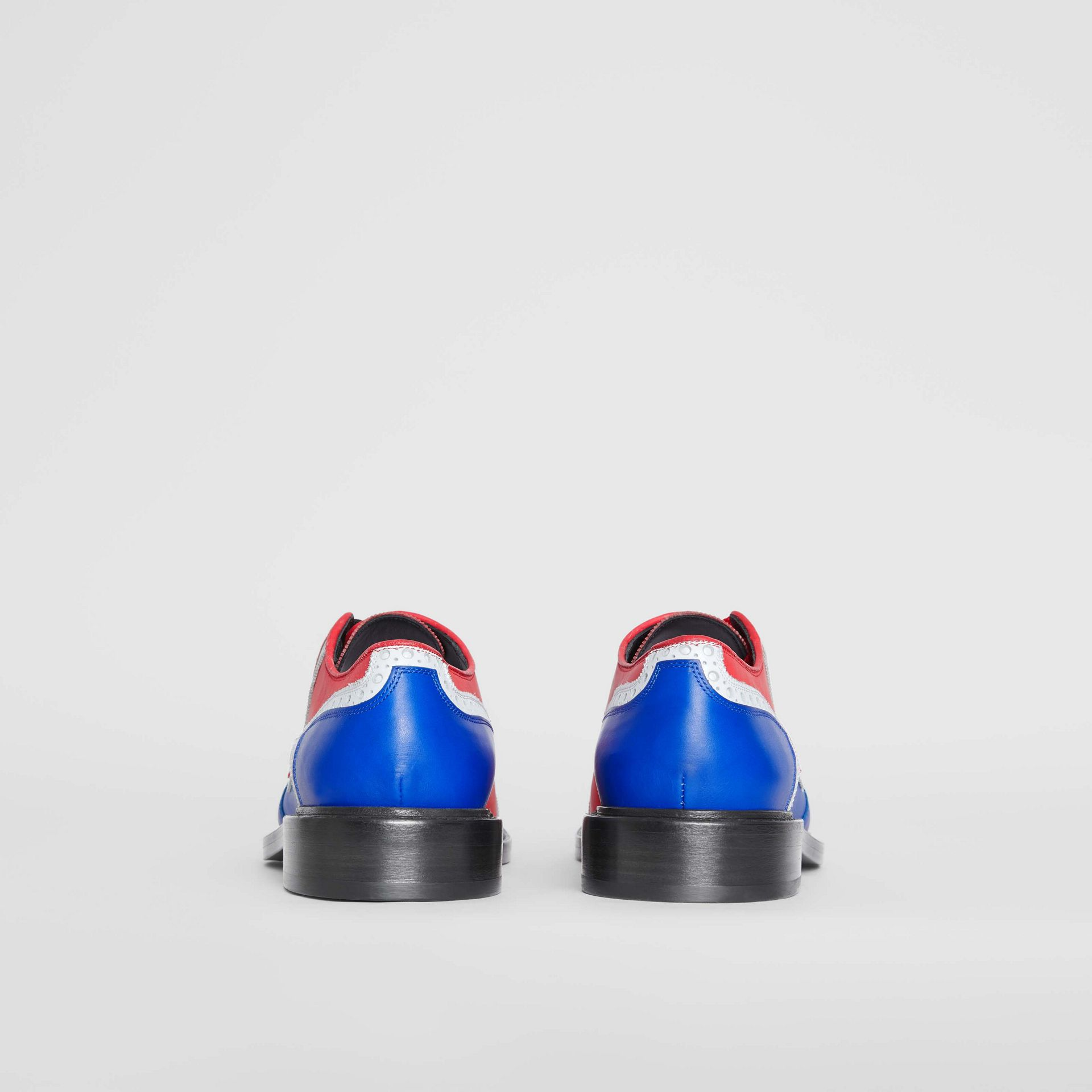 Asymmetric Closure Tri-tone Leather Brogues in Blue/red - Men | Burberry Australia - gallery image 4