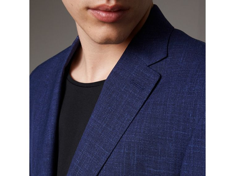 Modern Fit Wool Silk Linen Tailored Half-canvas Jacket in Steel Blue - Men | Burberry Hong Kong - cell image 1