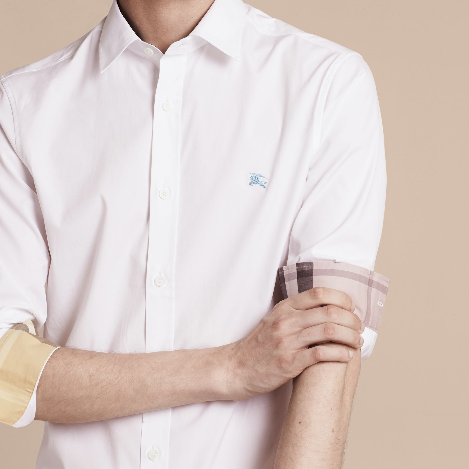 Check Detail Stretch Cotton Shirt in White - gallery image 5