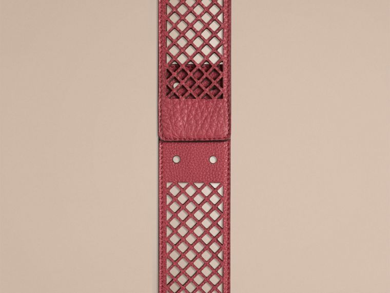 Peony rose Laser-cut Leather Belt - cell image 1