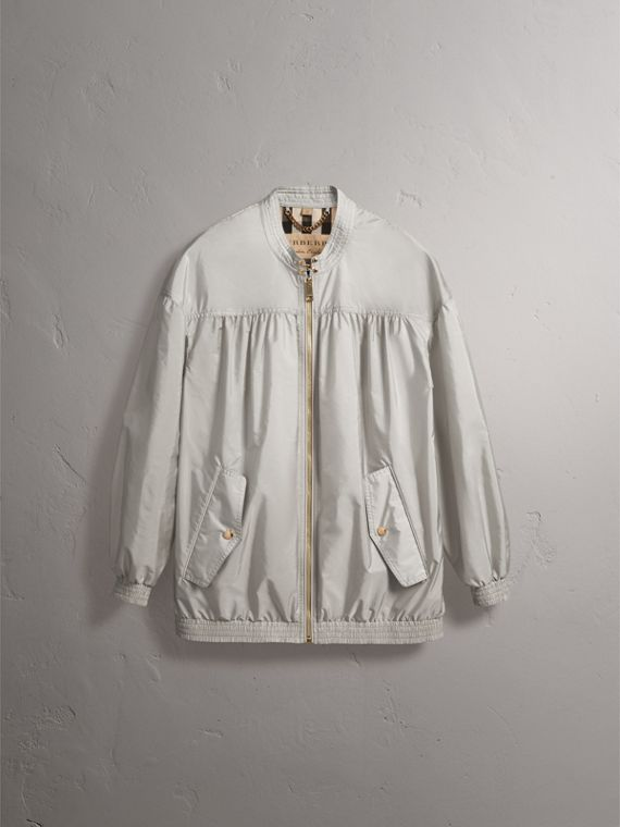 Ruched Showerproof Jacket in Pale Grey - Women | Burberry - cell image 3