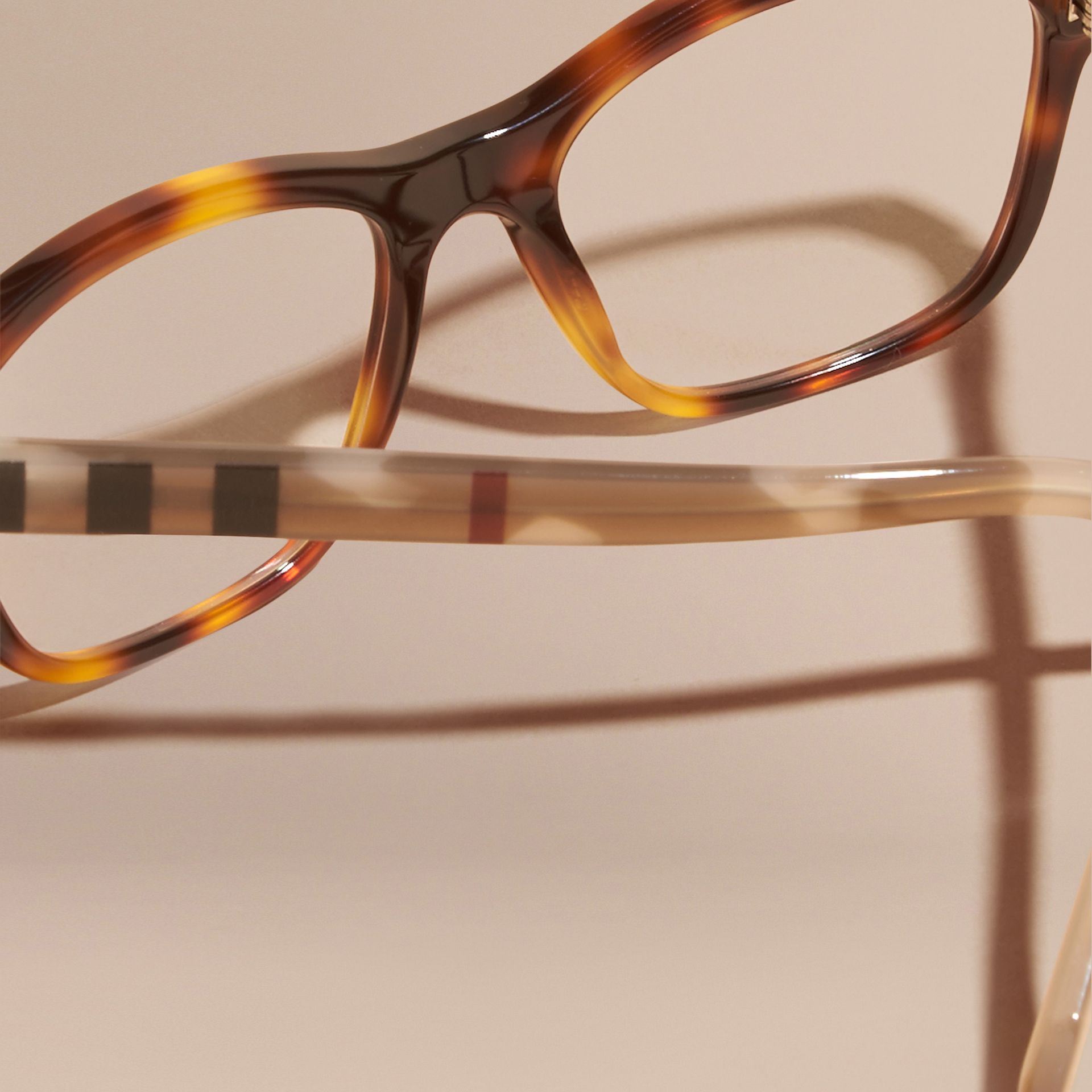 Light russet brown Check Detail Square Optical Frames Light Russet Brown - gallery image 4