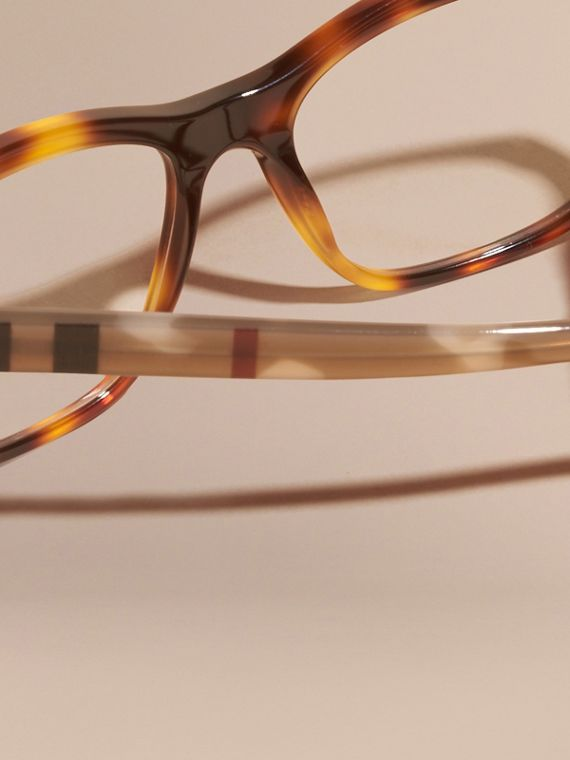 Check Detail Square Optical Frames Light Russet Brown - cell image 3