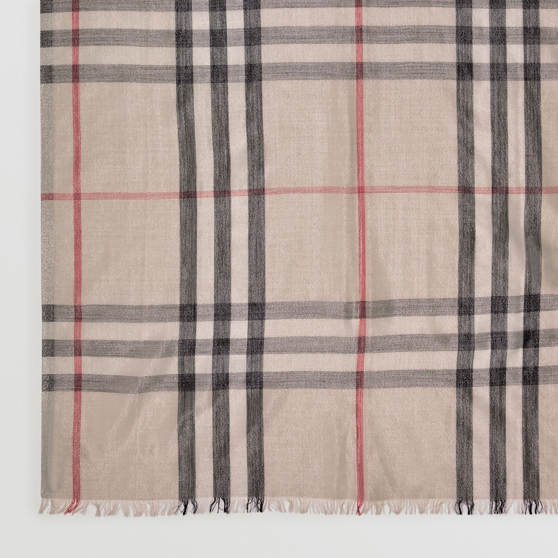 Metallic Check Silk and Wool Scarf in Stone/ Silver | Burberry United Kingdom - gallery image 1
