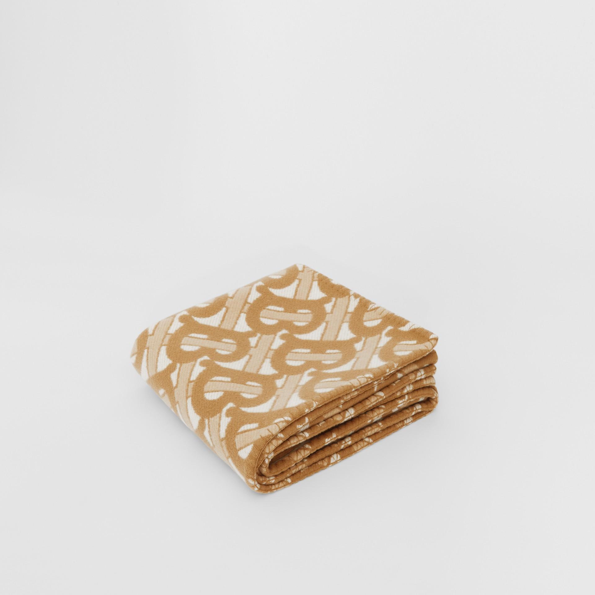 花押字圖案美麗諾羊毛喀什米爾毛毯 (淺沙色) | Burberry - 圖庫照片 0