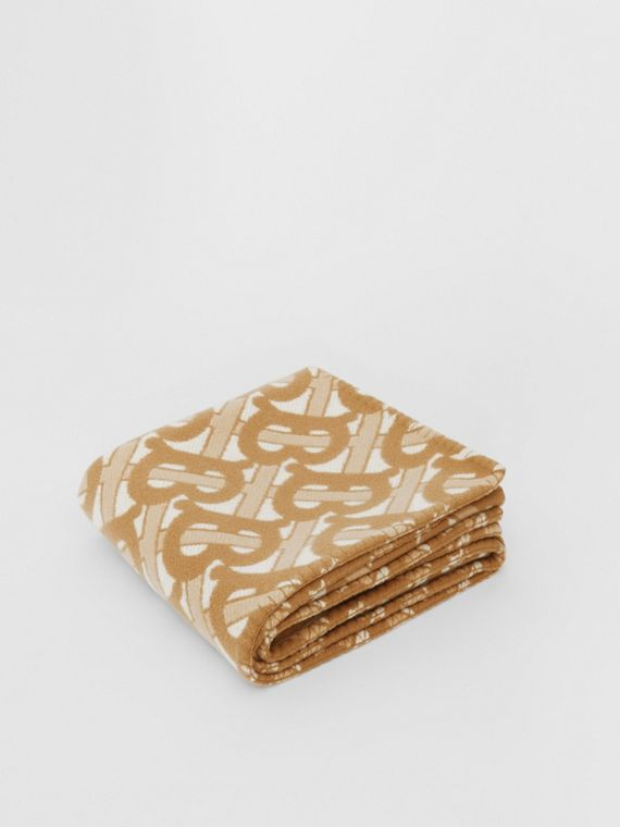 Monogram Motif Merino Wool Cashmere Blanket in Light Sand